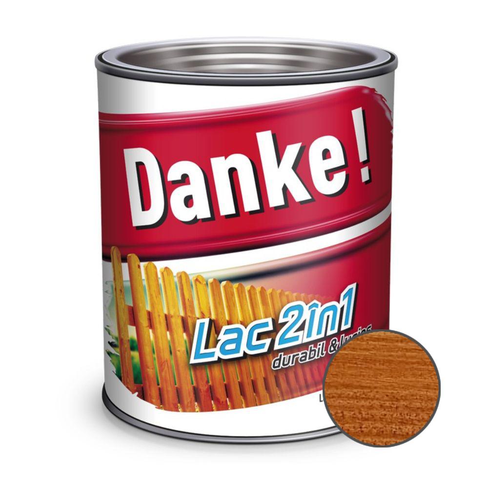 Lac pentru lemn 2 in 1, Danke!, castan, interior/exterior, 2.5L