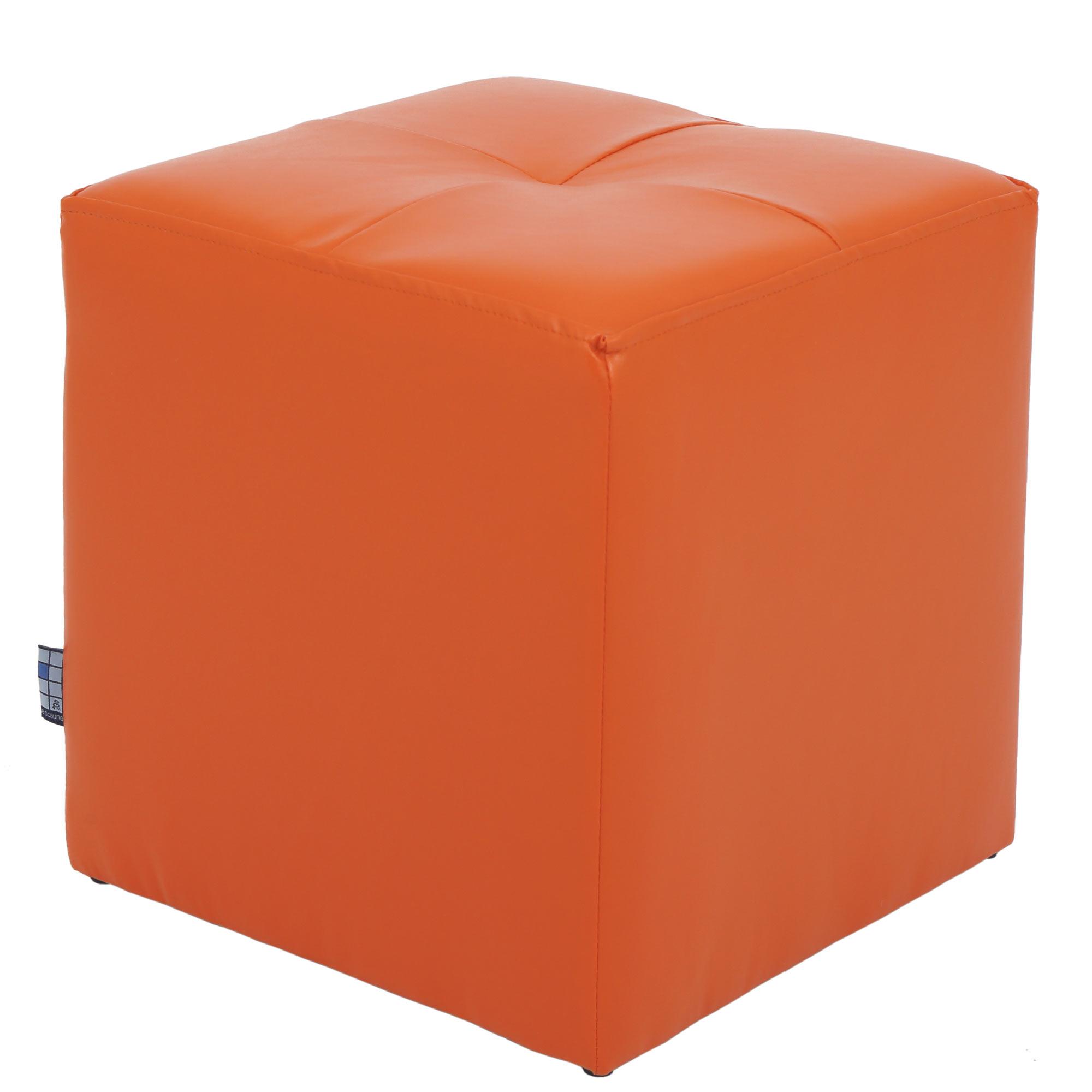 Taburet Cool tapiterie imitatie de piele, orange IP21895, 38 cm inaltime