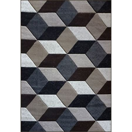 Covor modern Geo Hand Carved 7684, polipropilena heat set, model abstract gri, 200 x 290 cm