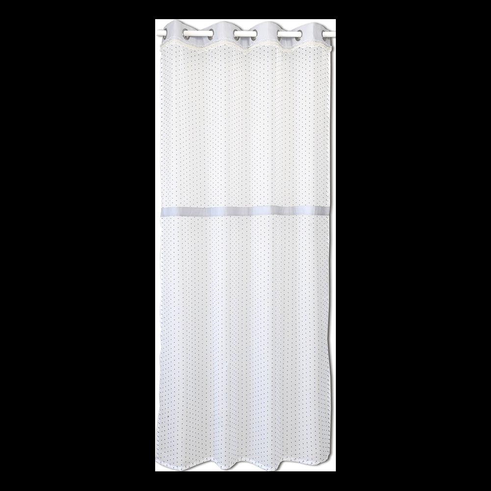 Perdea voal, poliester, alb cu buline bleu, 140 x 245 cm imagine 2021 mathaus