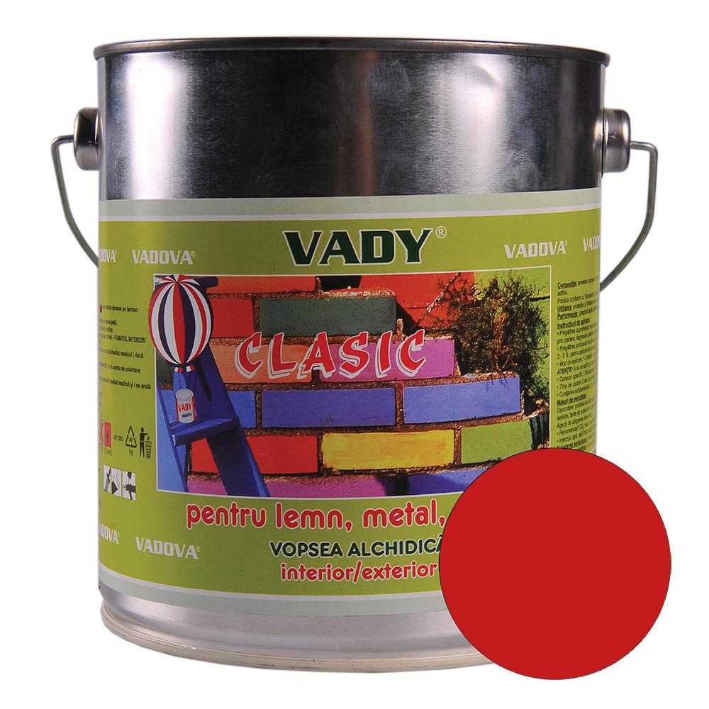Vopsea alchidica Vady clasic, pentru lemn/metal/zidarie, interior/exterior, rosu, 2,5 l imagine 2021 mathaus