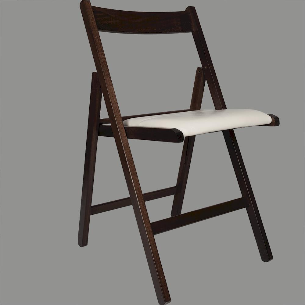 Scaun pliant Basic din lemn de fag, culoarea wenge, sezut tapitat piele eco, alb, 78x43cm imagine 2021 mathaus