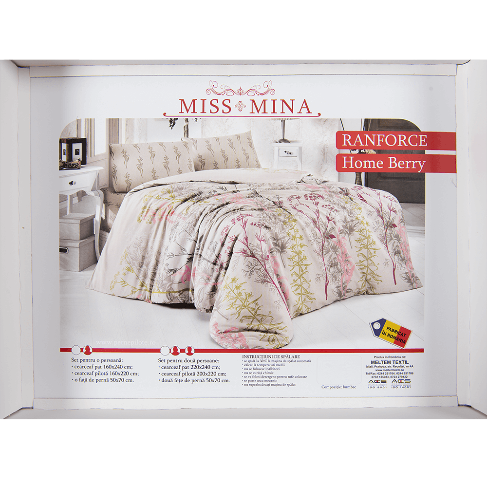 Lenjerie pat Homeberry, 2 persoane, bumbac, 4 piese, imprimeu floral, multicolor