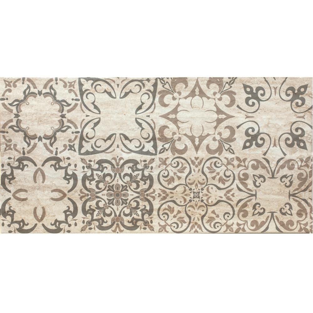 Faianta decor Keramo Rosso Port Agora MT, finisaj estetic, bej si maro, model geometric, 30 x 60 cm