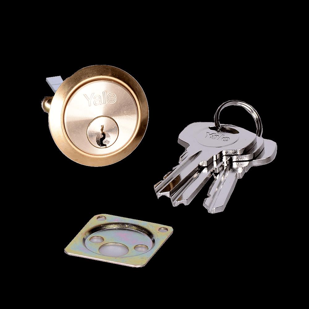 Cilindru de siguranta aplicat cu frezare, Yale, alama natur, 30 x 30 mm, 5 chei imagine 2021 mathaus