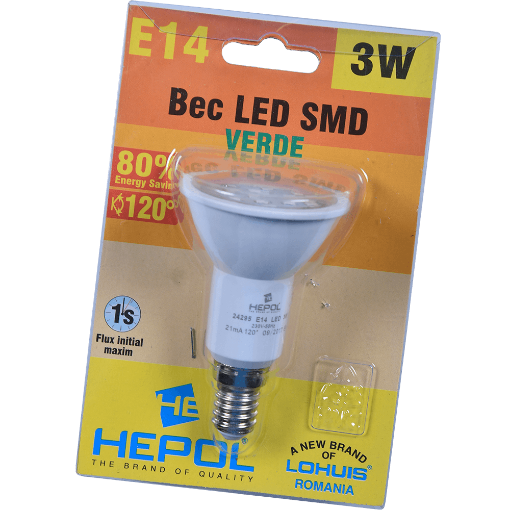 BEC LED R50 E14 3W VERDE mathaus 2021