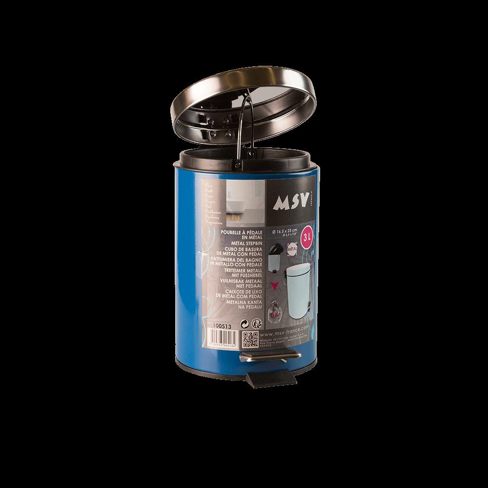 Cos de gunoi metalic cu pedala, albastru, 5 l