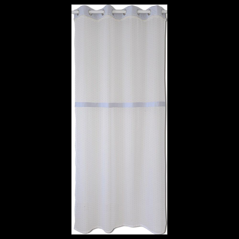 Perdea voal, poliester, alb cu buline roz, 140 x 245 cm imagine 2021 mathaus