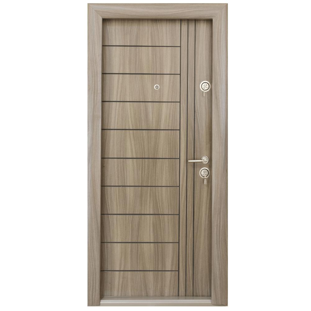Usa metalica intrare Arta Door 309, cu fete din MDF laminat, 880 x 2010 mm, deschidere stanga, culoare tanganica mathaus 2021