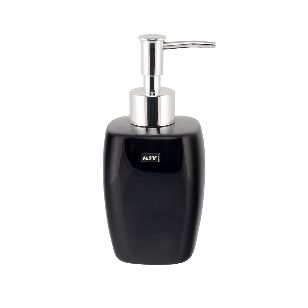 Dozator sapun lichid RomTatay, ceramica, negru, 7 x 16,5 cm