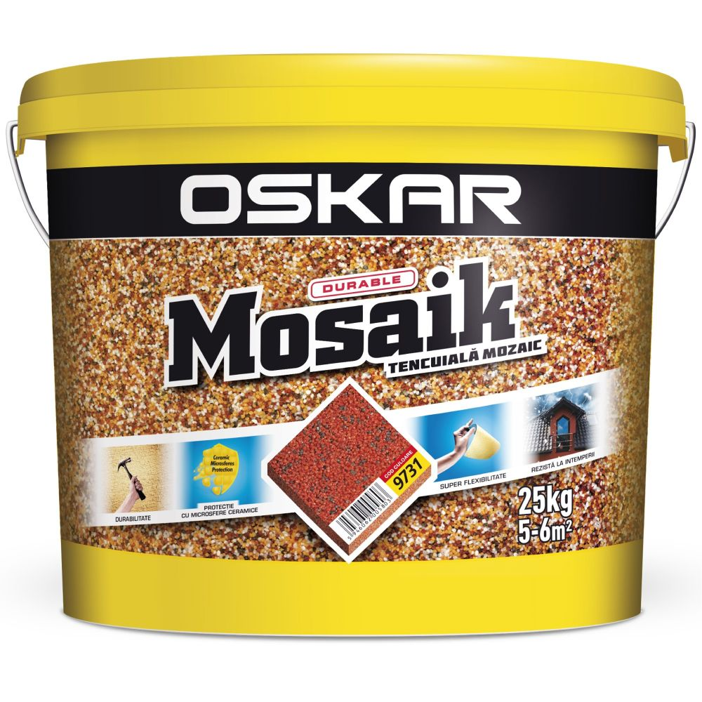 Tencuiala decorativa Oskar Mosaik, 9731, interior/exterior, 25 kg