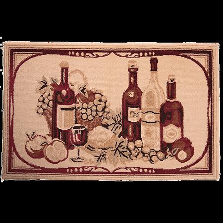 Covor bucatarie Fresco 5019-210, polipropilena, model cu vin bej-visiniu, 50 x 80 cm