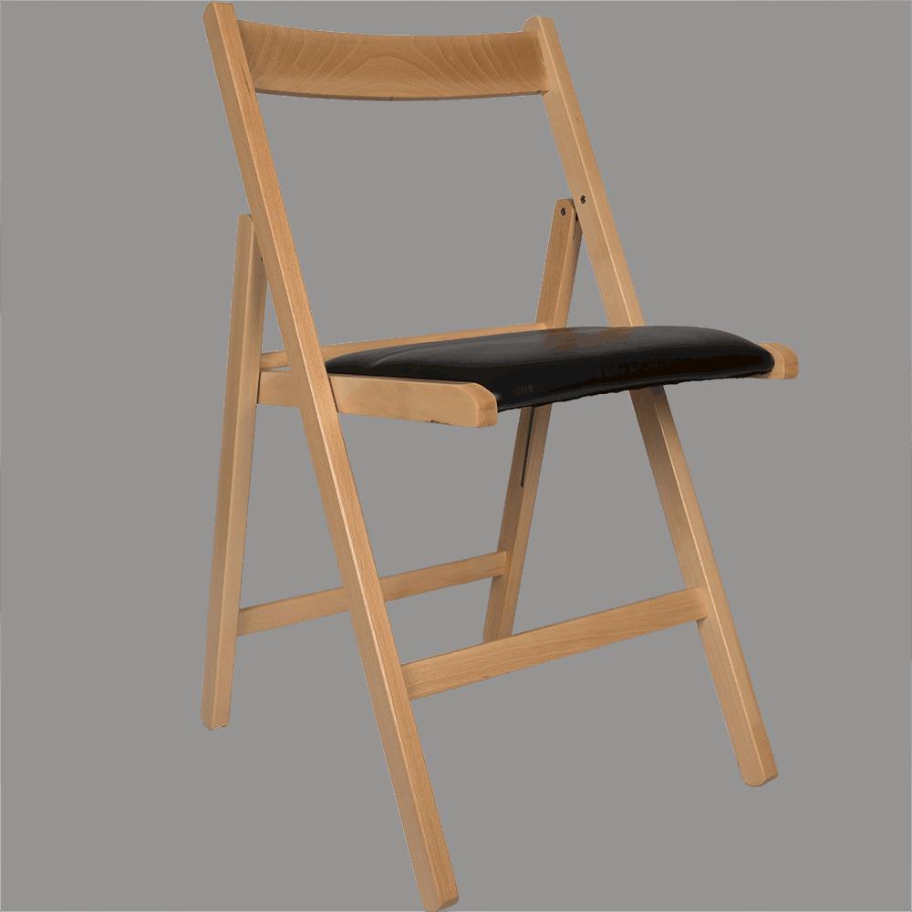 Scaun pliant Basic din lemn de fag, culoarea fag, sezut tapitat piele eco, negru, 78x43cm imagine 2021 mathaus