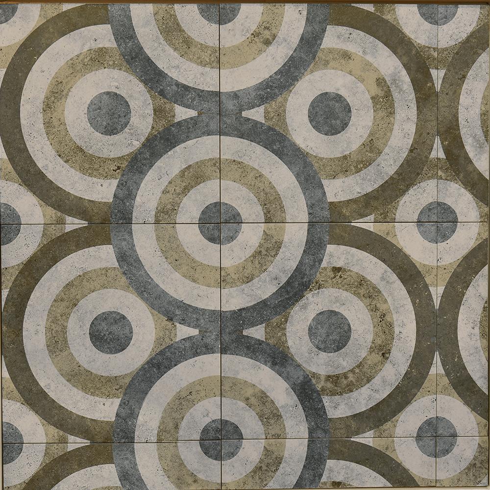 Gresie interior Kaleidoscop 3D, nuante albastru/ bej/ verde, 40 x 40 cm imagine MatHaus.ro