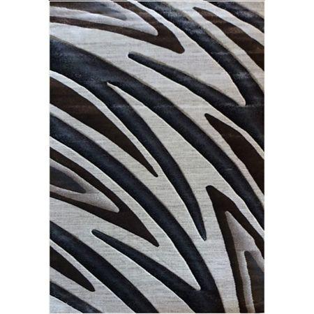 Covor modern Geo Hand Carved 7164, polipropilena heat set, model abstract bej/maro, 140 x 200 cm