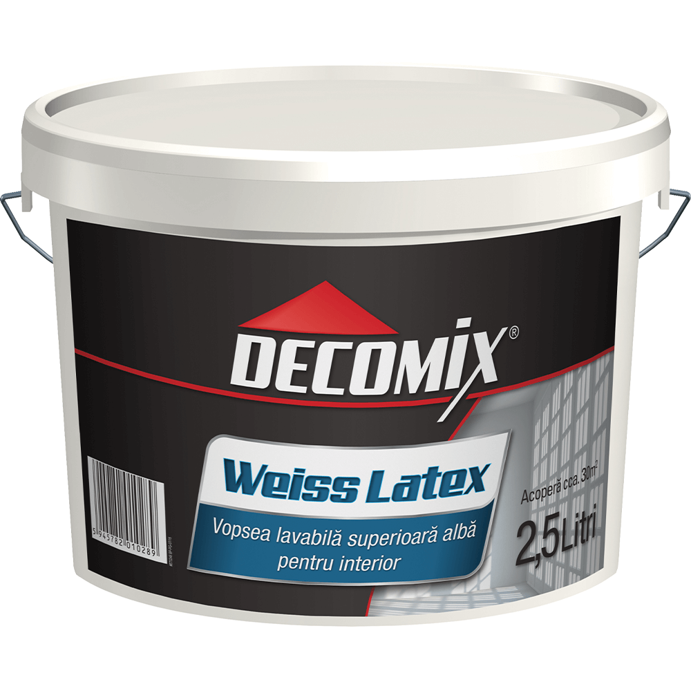 Vopsea lavabila latex Decomix WeissLatex, de interior, alba, 2,5 L