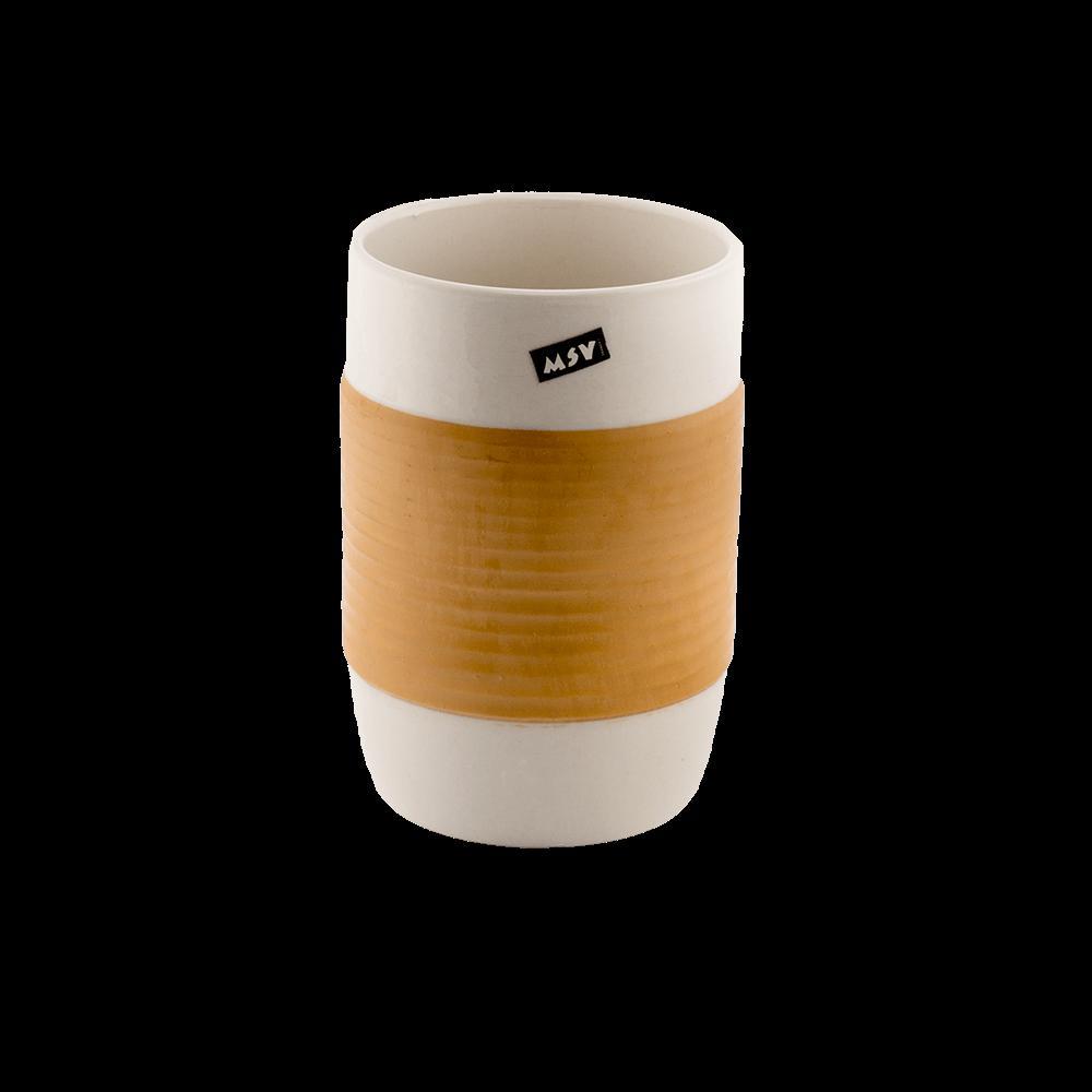 Pahar de baie Romtatay Moorea, ceramica, alb-bej, 7 x 10.5 cm imagine 2021 mathaus