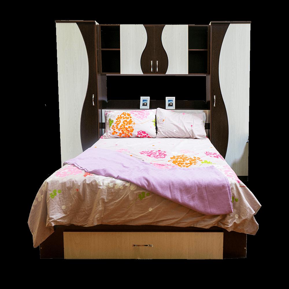 Dormitor tineret Laguna, PAL melaminat, pat + dulapuri + polite, wenge-stejar ferrara imagine 2021 mathaus