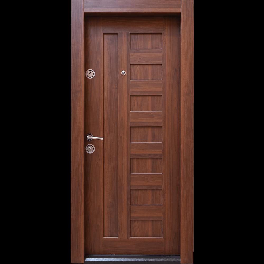 Usa metalica intrare Arta Door 410, cu fete din MDF laminat, 880 x 2010 mm, deschidere dreapta, culoare nuc mathaus 2021