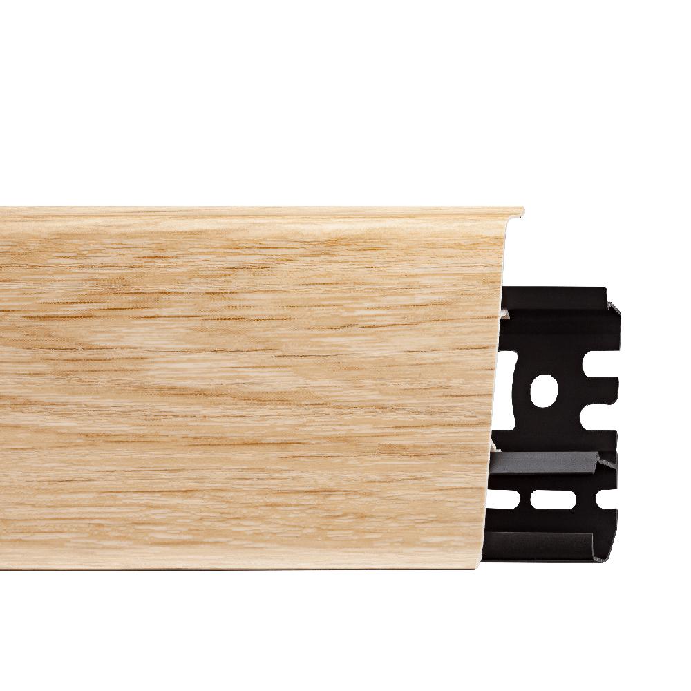 Plinta parchet, cu canal cablu, PVC, stejar lingb, INDO 70, 2500 mm imagine MatHaus