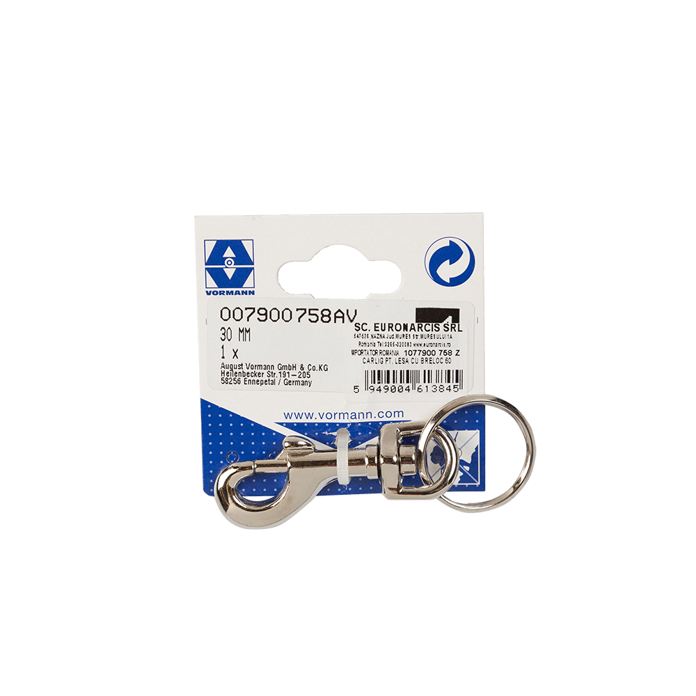 Carlig carabina cu ochi, otel, 60 x 13 x 25 mm mathaus 2021