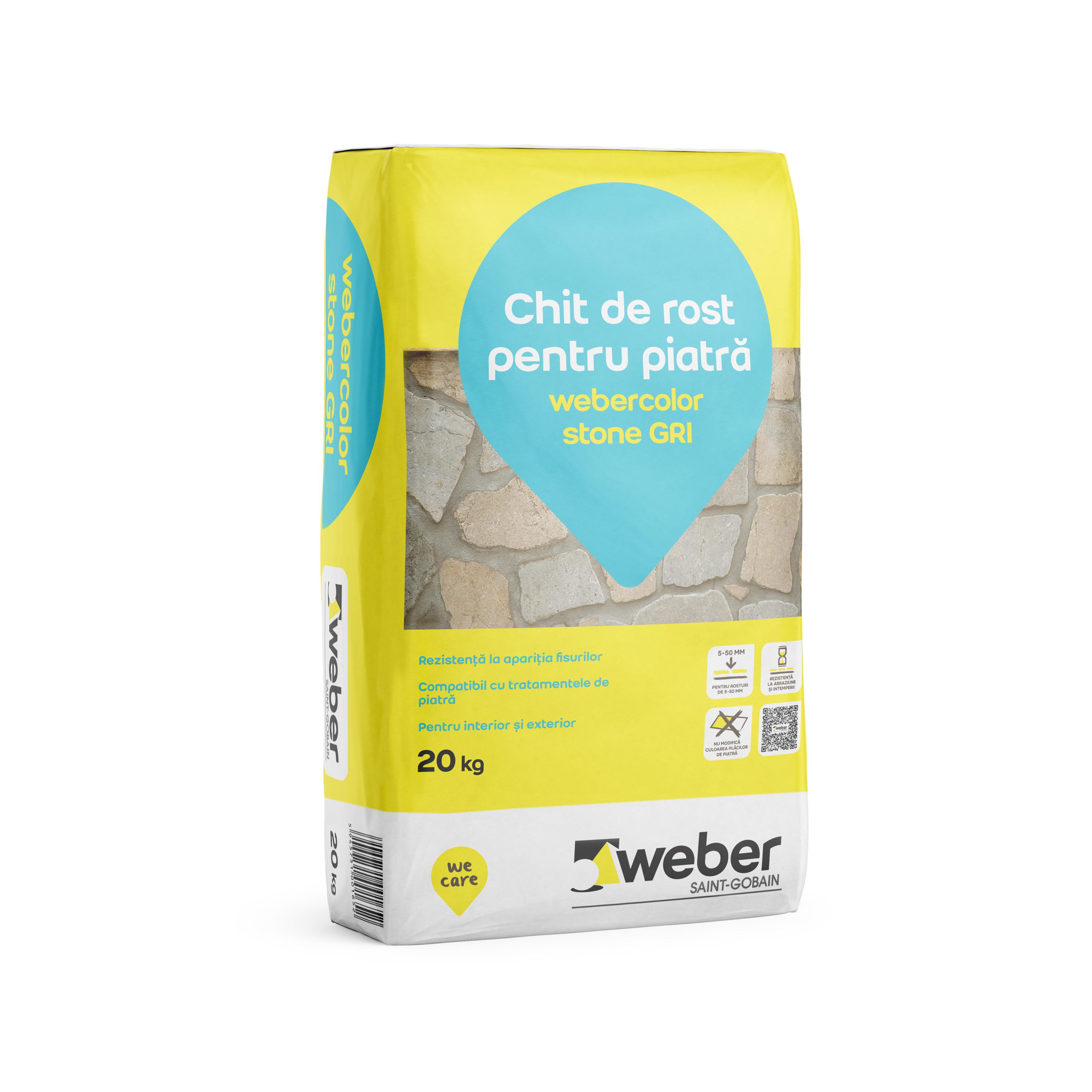 Chit de rosturi pentru piatra naturala, Weber Color Stone, gri, 20 kg