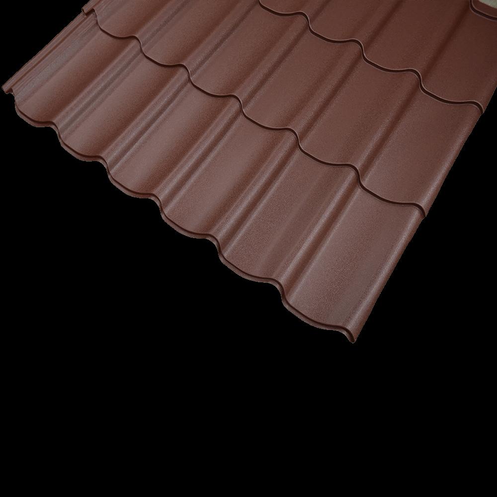 Tigla metalica maro RAL 8017 mat, grosime 0.45 mm, 1,095 x 1,180 m mathaus 2021