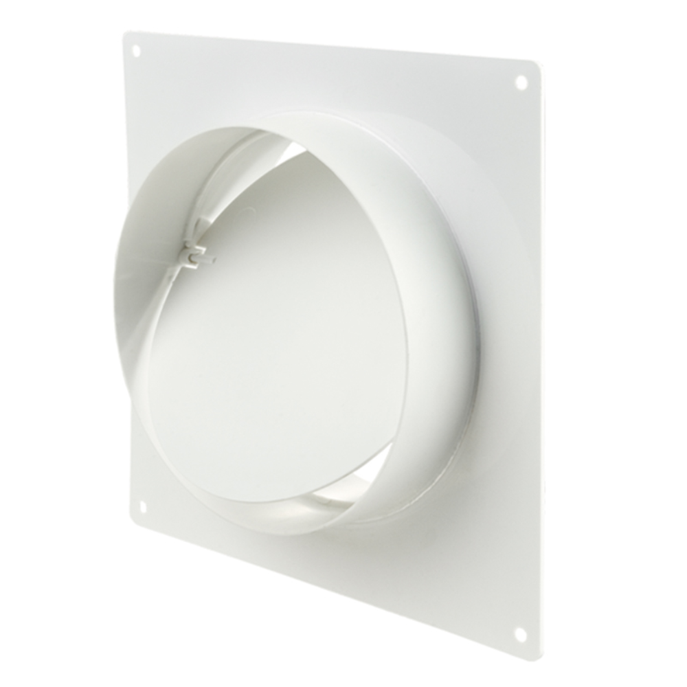 Conector cu flansa de perete, clapeta antiretur, PVC, 150 mm