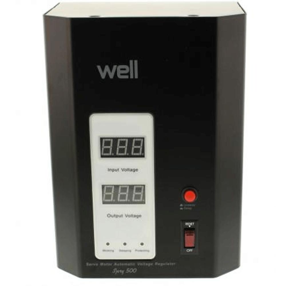 Stabilizator automat de tensiune Well 500 VA, AVR cu servomotor, 130 x 170 x 230 mm imagine MatHaus