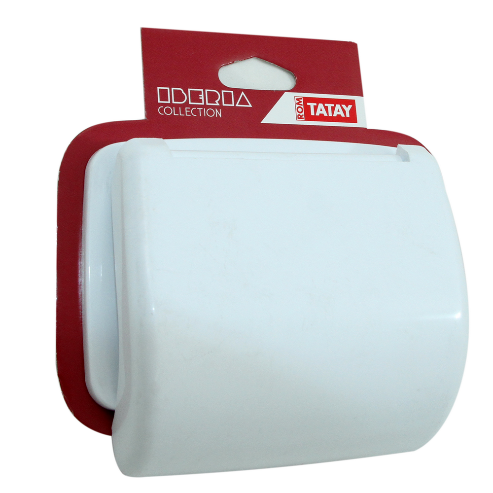 Suport hartie igienica Iberia, plastic, sistem prindere pe perete, 18 x 5 x 18 cm