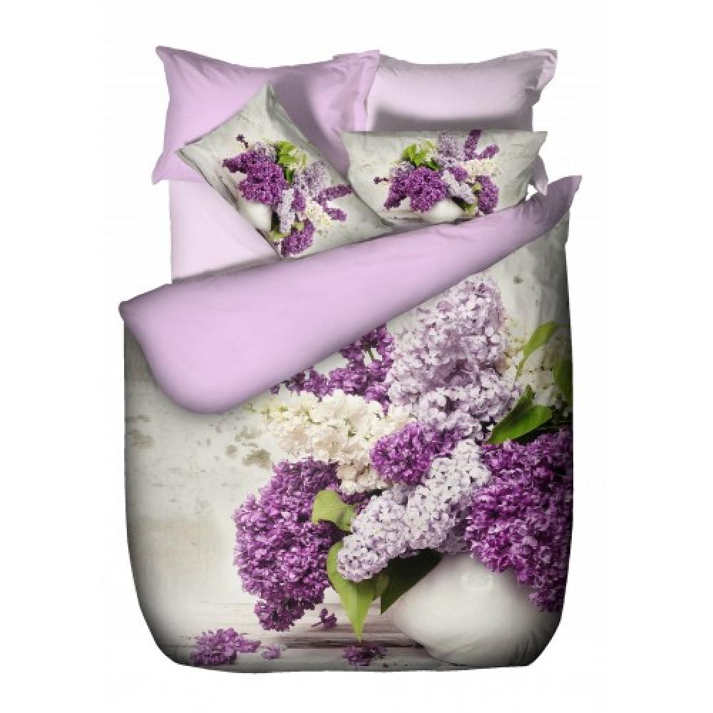 Lenjerie de pat, 2 persoane, 3D pano, bumbac 100%, 4 piese, alb + lila + mov imagine MatHaus