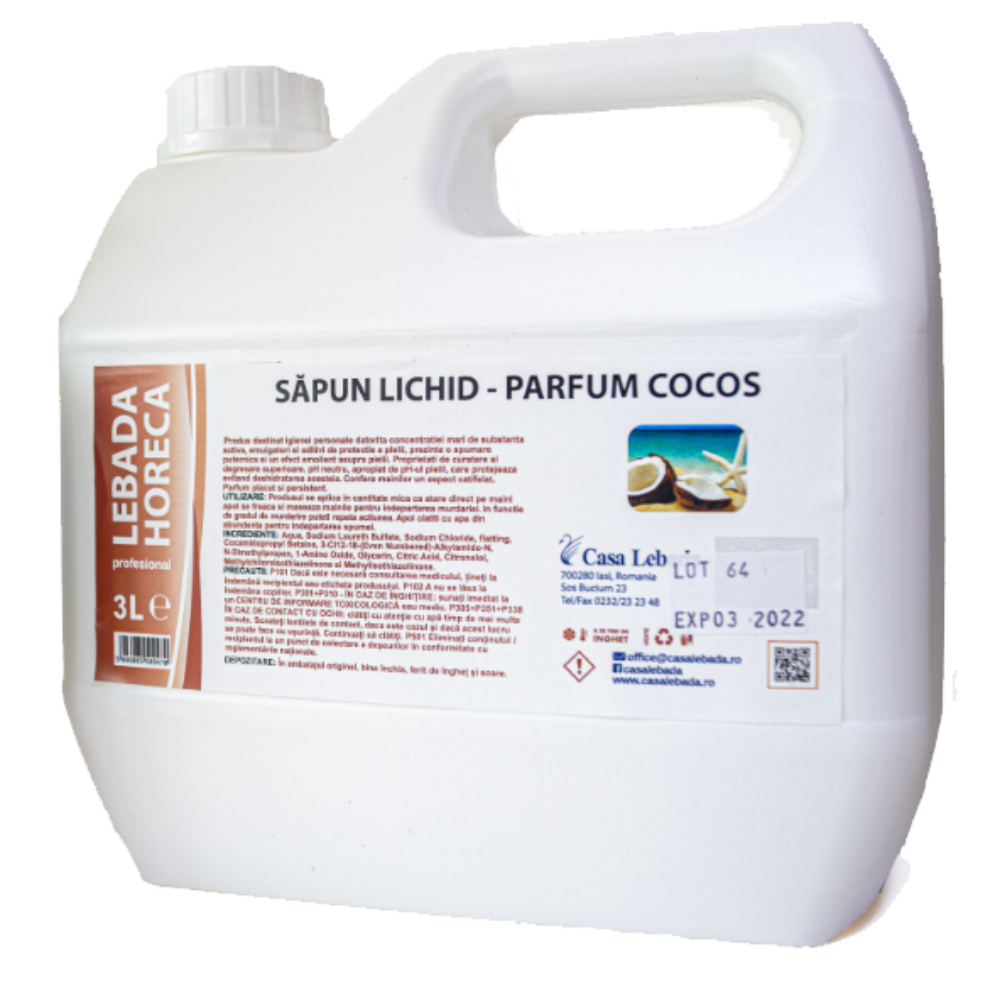 Sapun lichid Casa Lebada, cocos, 3l imagine MatHaus