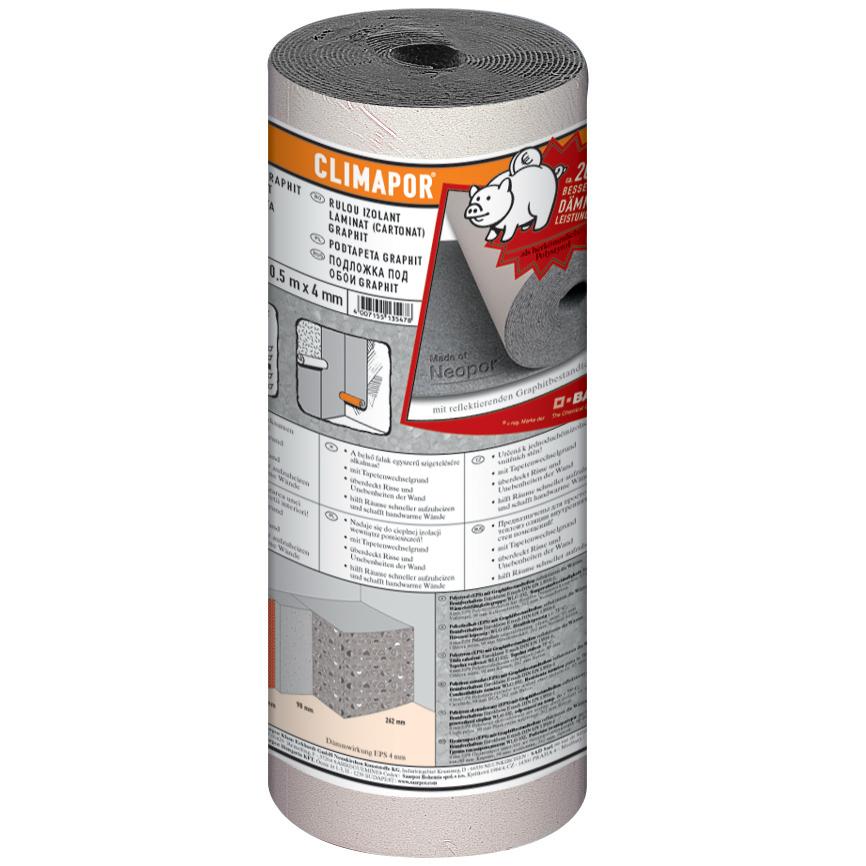 Tapet izolant cu grafit cartonat, 10 m x 0,5 m x 4 mm