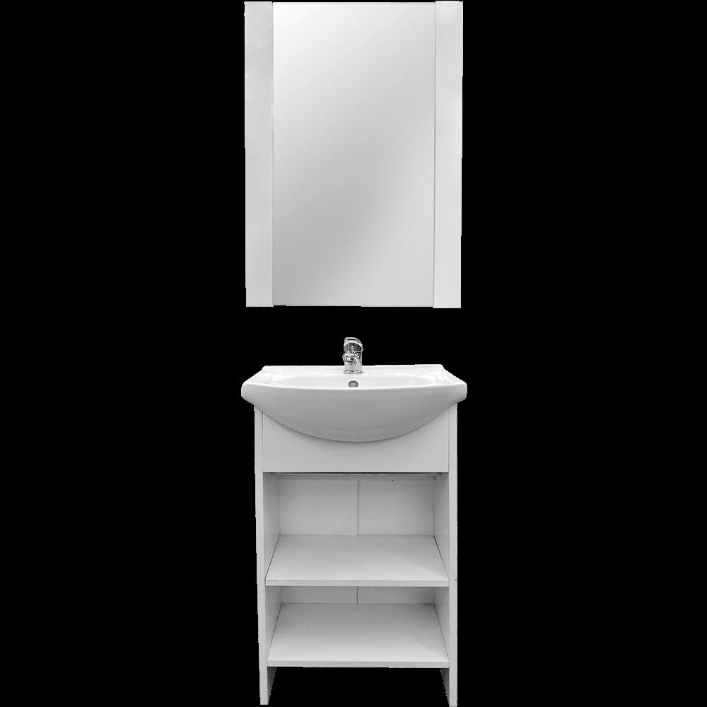 Set mobilier baie Badenmob Alfa 45, masca + lavoar + oglinda, alb imagine 2021 mathaus