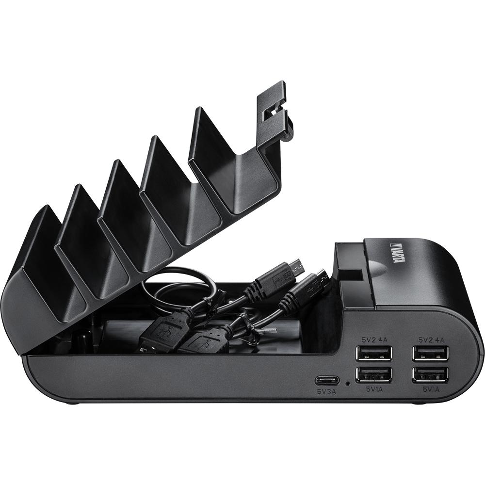 Statie incarcare Varta, pana la 5 telefoane mobile/ tablete simultan, 2 porturi iesire USB A 5V/2.4A, 2 porturi iesire USB A 5V/1A, 1 port iesire USB tip C 5V/3A, 449 g,  100 x 52 x 183 mm