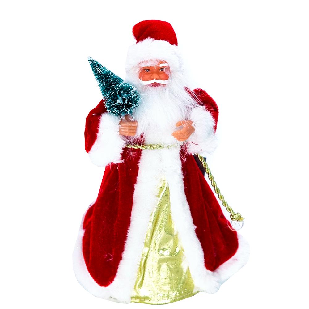 Varf de brad Craciun, Santa, plastic si textil, 23 cm