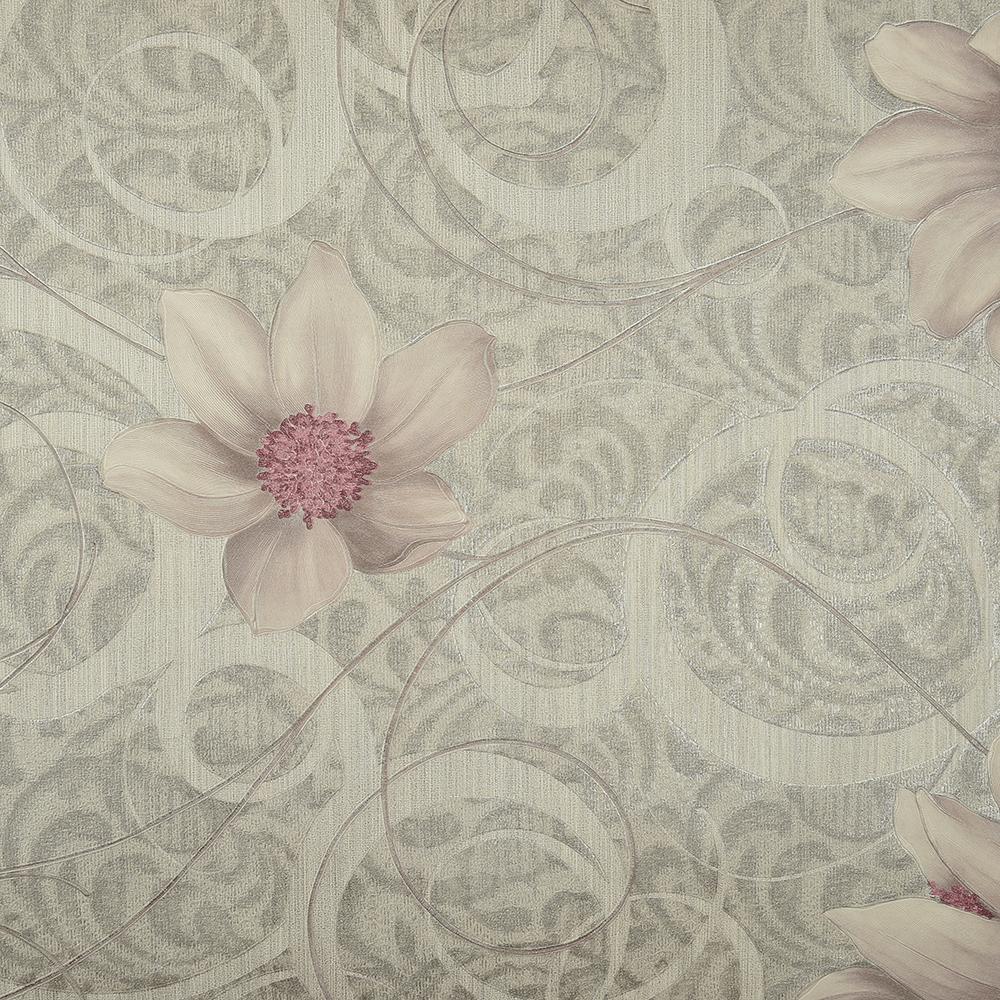 Tapet Seela Adoro vlies 7510-4 gri flori mov, 10 x 0,53 cm
