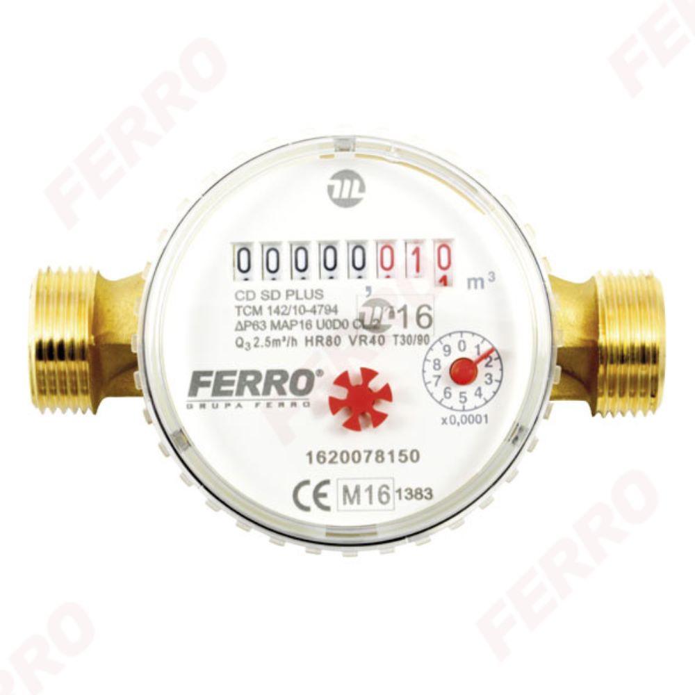 Contor pentru apa Ferro CDSD20ACPLUS, cu racorduri filetate 1 inch, DN 20 mm mathaus 2021