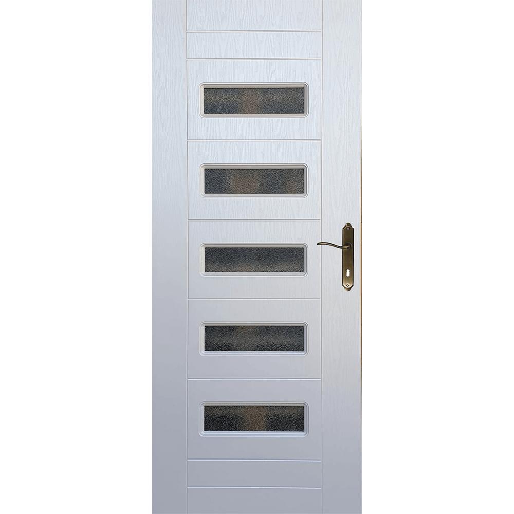 Usa interior cu geam Pamate M104, alb, 203 x 80 x 3,5 cm + toc 10 cm, reversibila