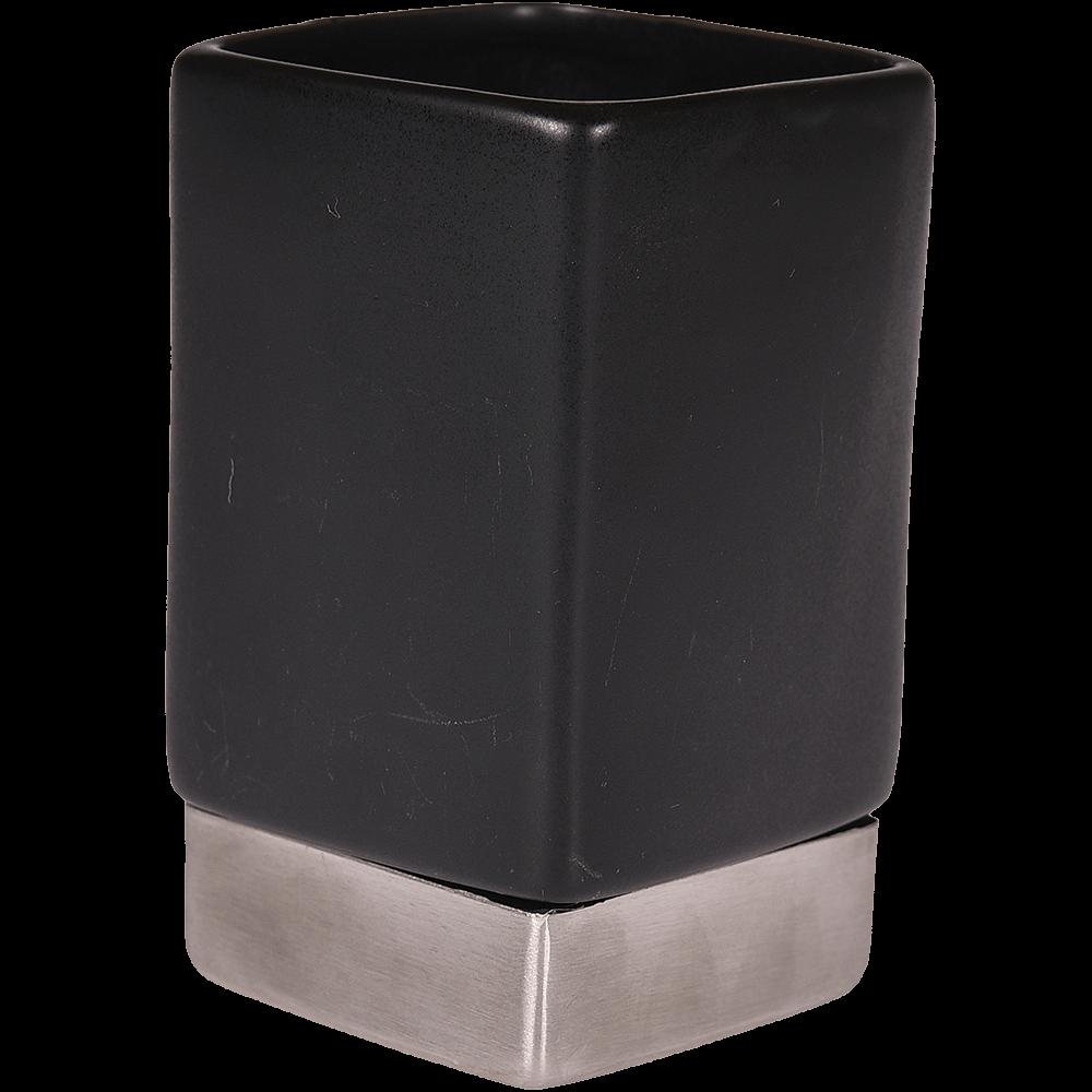 Pahar de baie Romtatay Nhale, ceramica, negru, 6.5 x 6.5 x 11 cm imagine 2021 mathaus