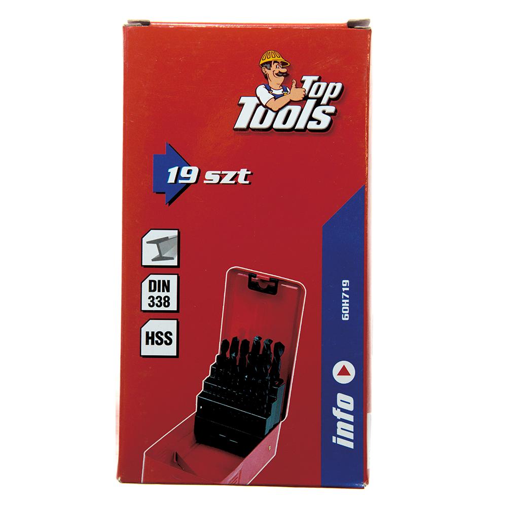 Set 19 burghie Top Tools, Hss 60H719, pentru metal, 1-10 mm imagine MatHaus.ro