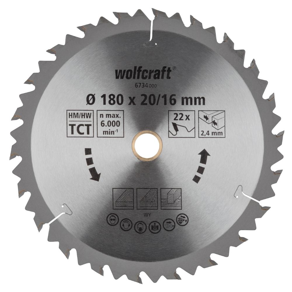 Panza pentru fierastrau circular Wolfcraft, 22 de dinti, diametrul 180 mm imagine 2021 mathaus