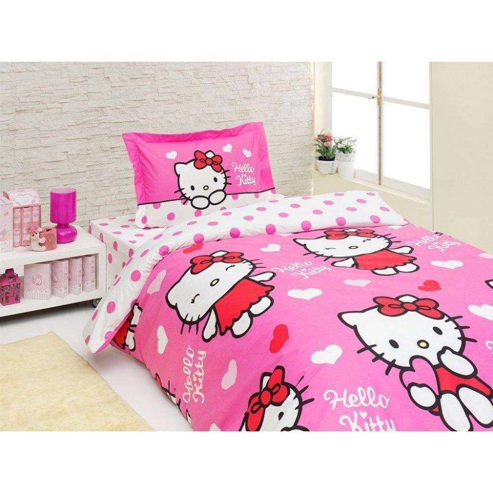 Lenjerie de pat pentru copii Hello Kitty Miss Love, 1 persoana, bumbac 100%, 3 piese, roz + alb + rosu