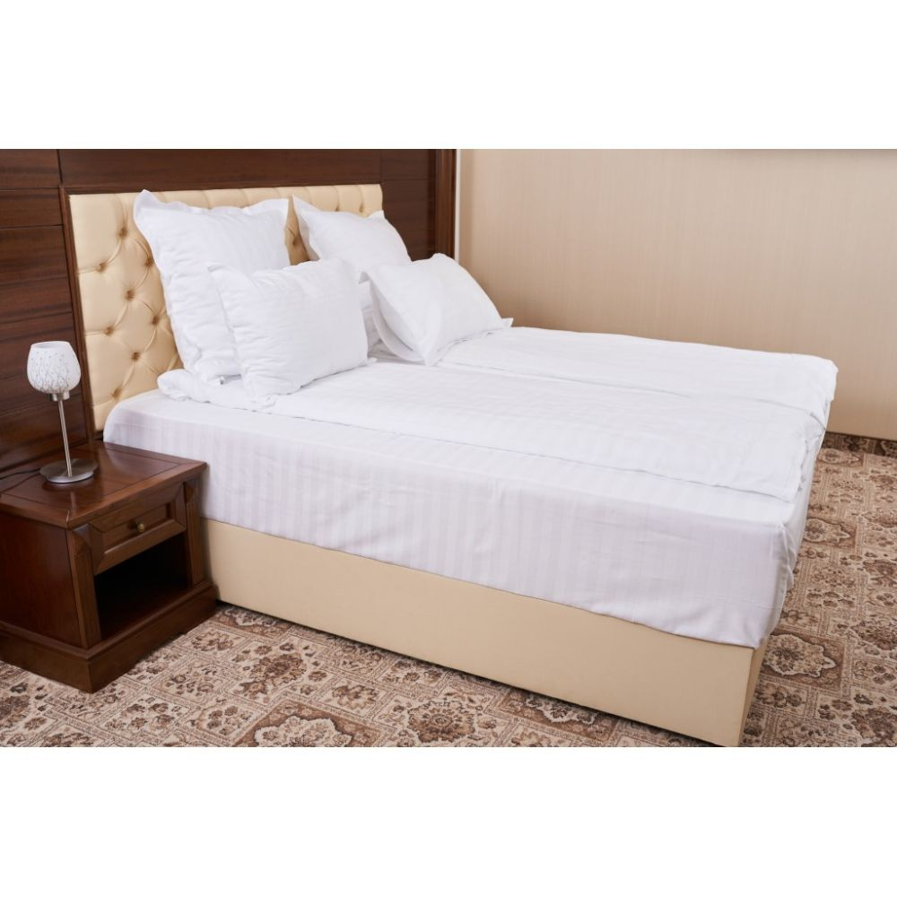 Lenjerie pat, damasc, 2 persoane, 4 piese, alb