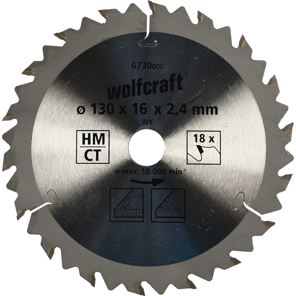 Panza pentru fierastrau circular Wolfcraft, 18 dinti, diametrul 130