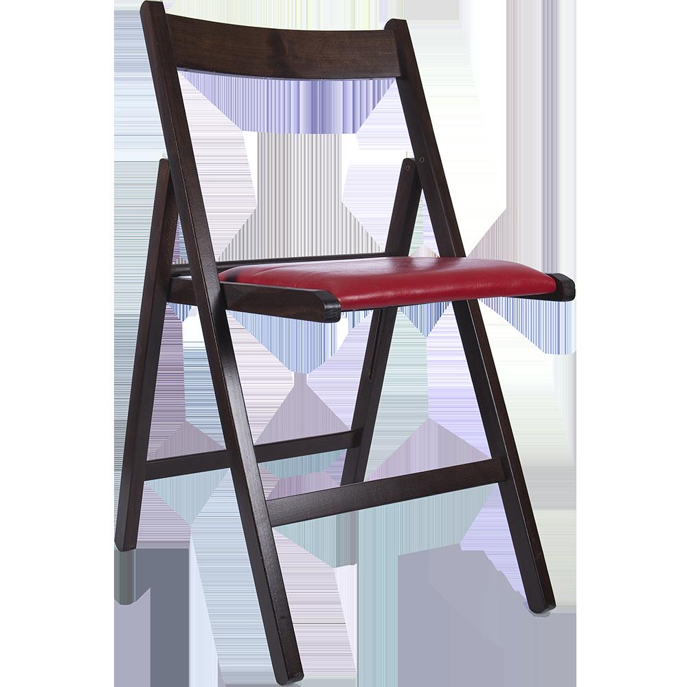 Scaun pliant Basic din lemn de fag, culoarea wenge, sezut tapitat piele eco rosie, 78x43cm imagine 2021 mathaus