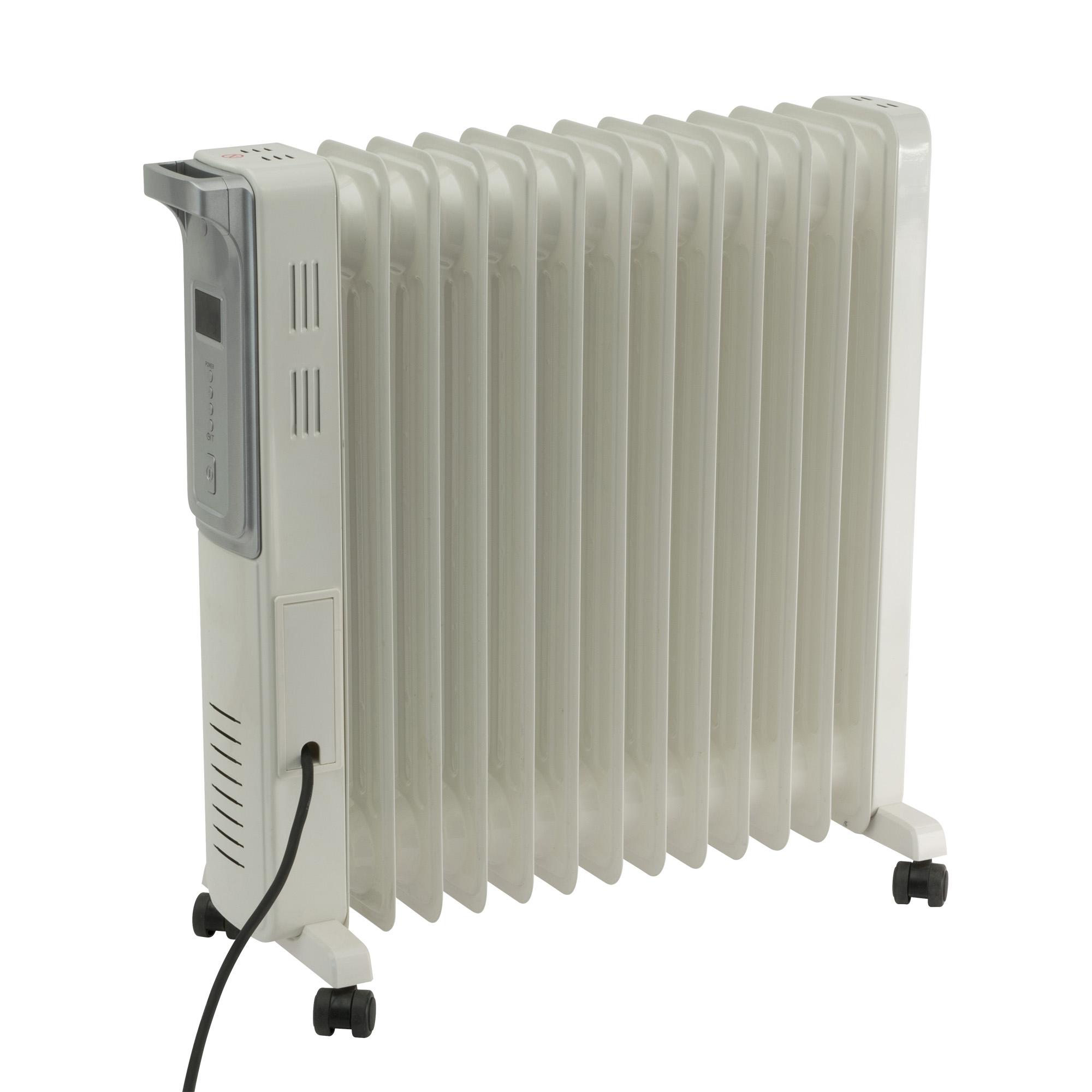 Calorifer electric cu ulei Home FKO 13 LCD, 2 panouri convectoare, 2500 W, aluminiu, alb, 63 x 60 cm imagine 2021 mathaus