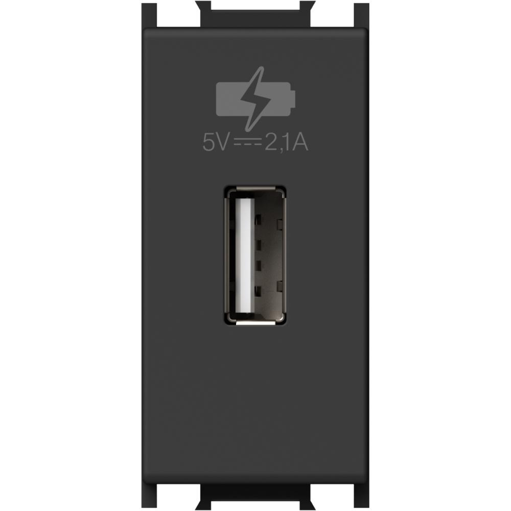MODUL INCARCATOR USB 1 MODUL 5VDC NEGRU mathaus 2021