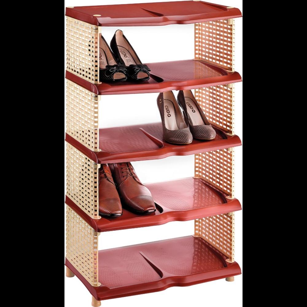 Raft din plastic pentru pantofi, rattan maro, 5 nivele, 87 x 48 x 31 cm mathaus 2021