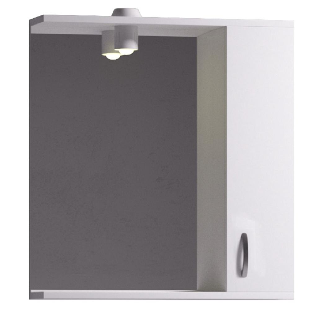 Dulap baie cu oglinda Profi 55 Badenmob, montaj suspendat, PAL lucios, alb, 56 x 14 x 71 cm